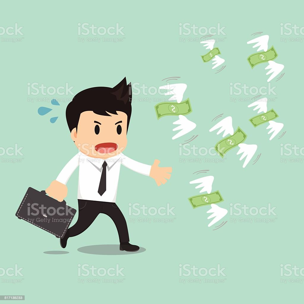 Businessman run to catch fly money vector illustration vector art illustration
