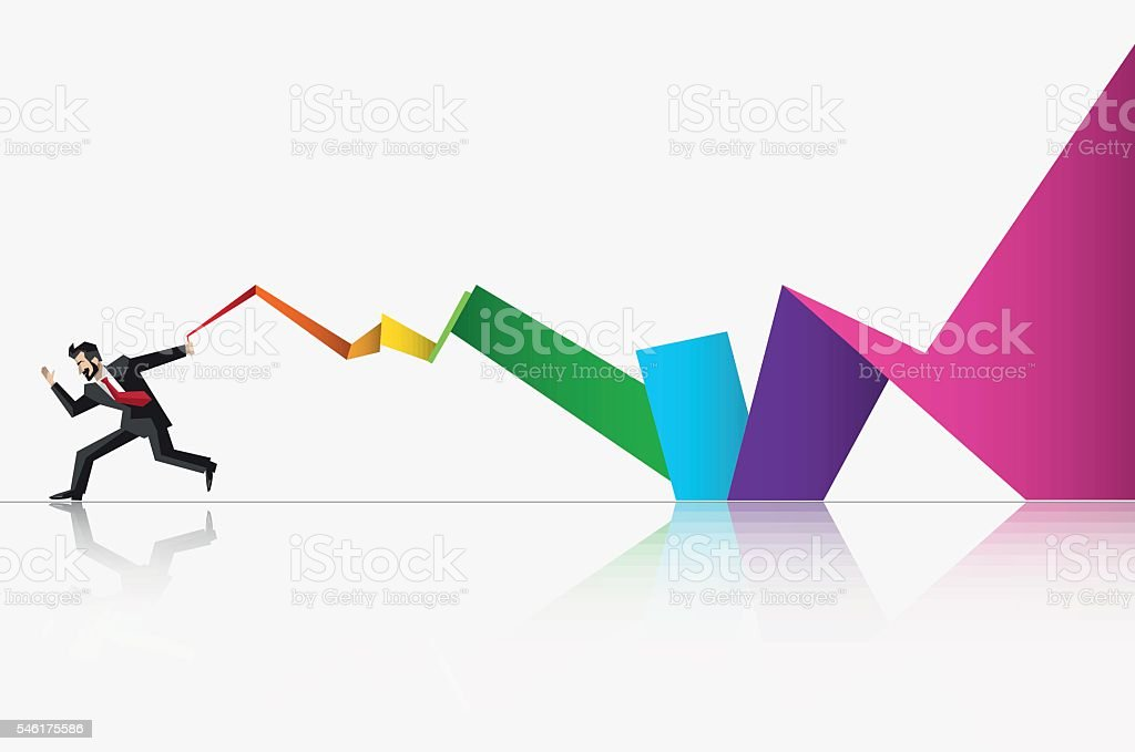 Businessman runing wight long flag, low polygon colorful business background, vector art illustration