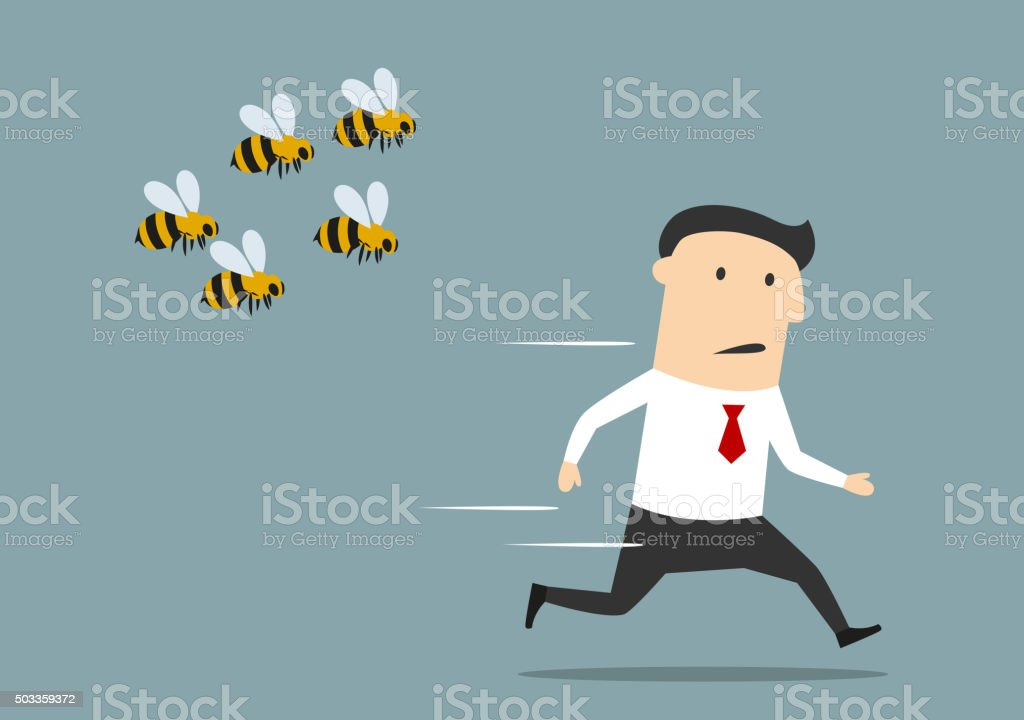 Businessman running away from angry bees vector art illustration