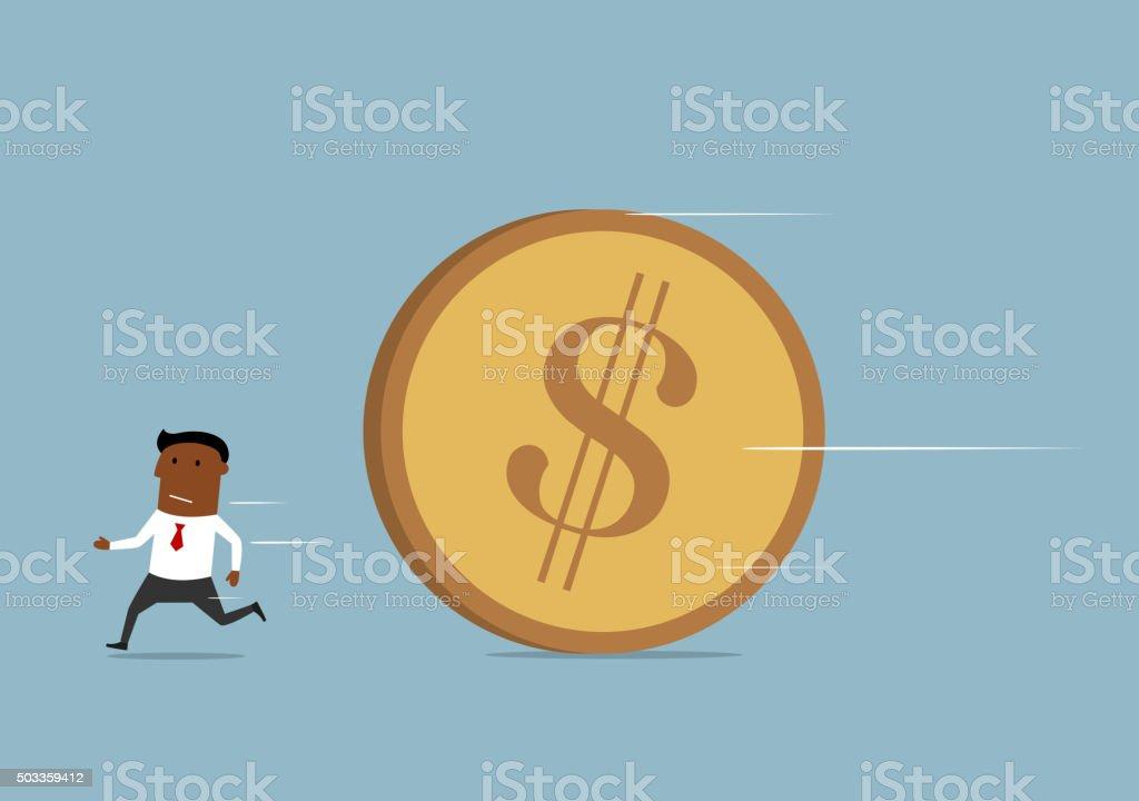 Businessman running away from huge golden coin vector art illustration