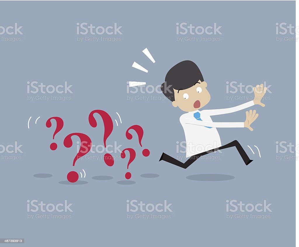 Businessman running away from problem vector art illustration