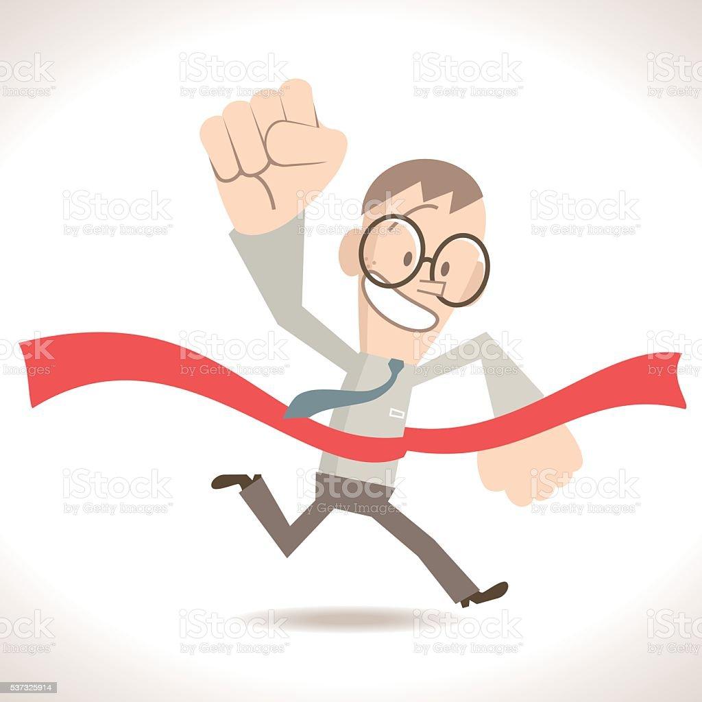 Businessman running crossing the finish line, holding fist in air vector art illustration