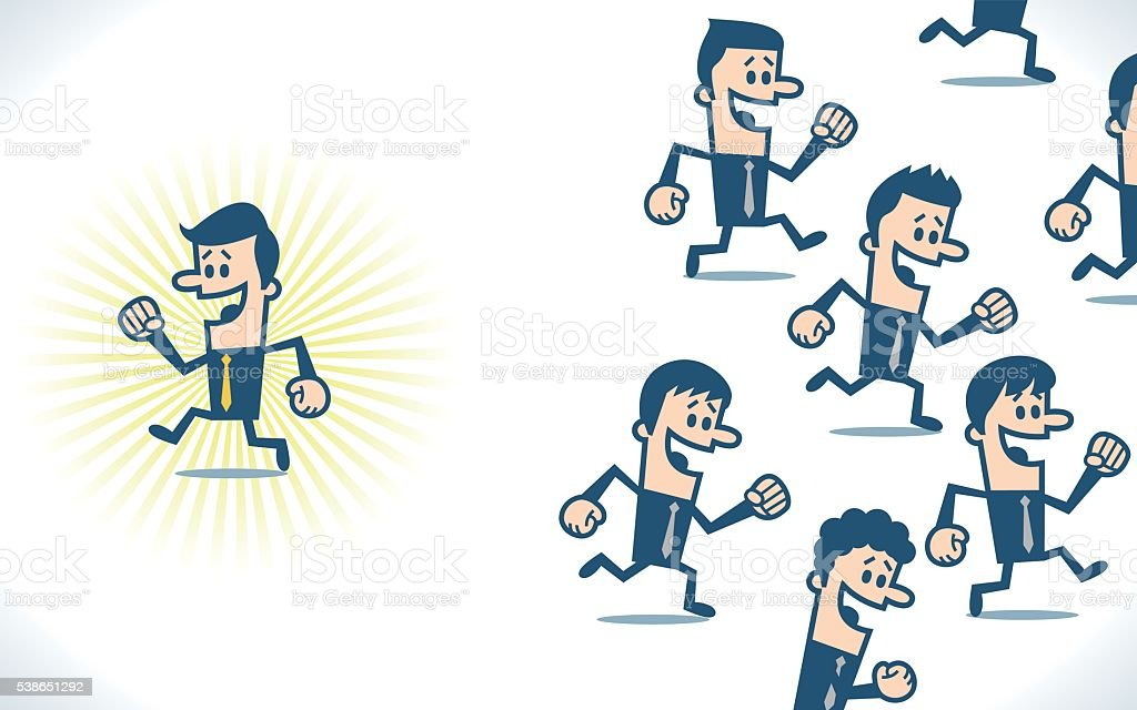 Businessman running in different way vector art illustration