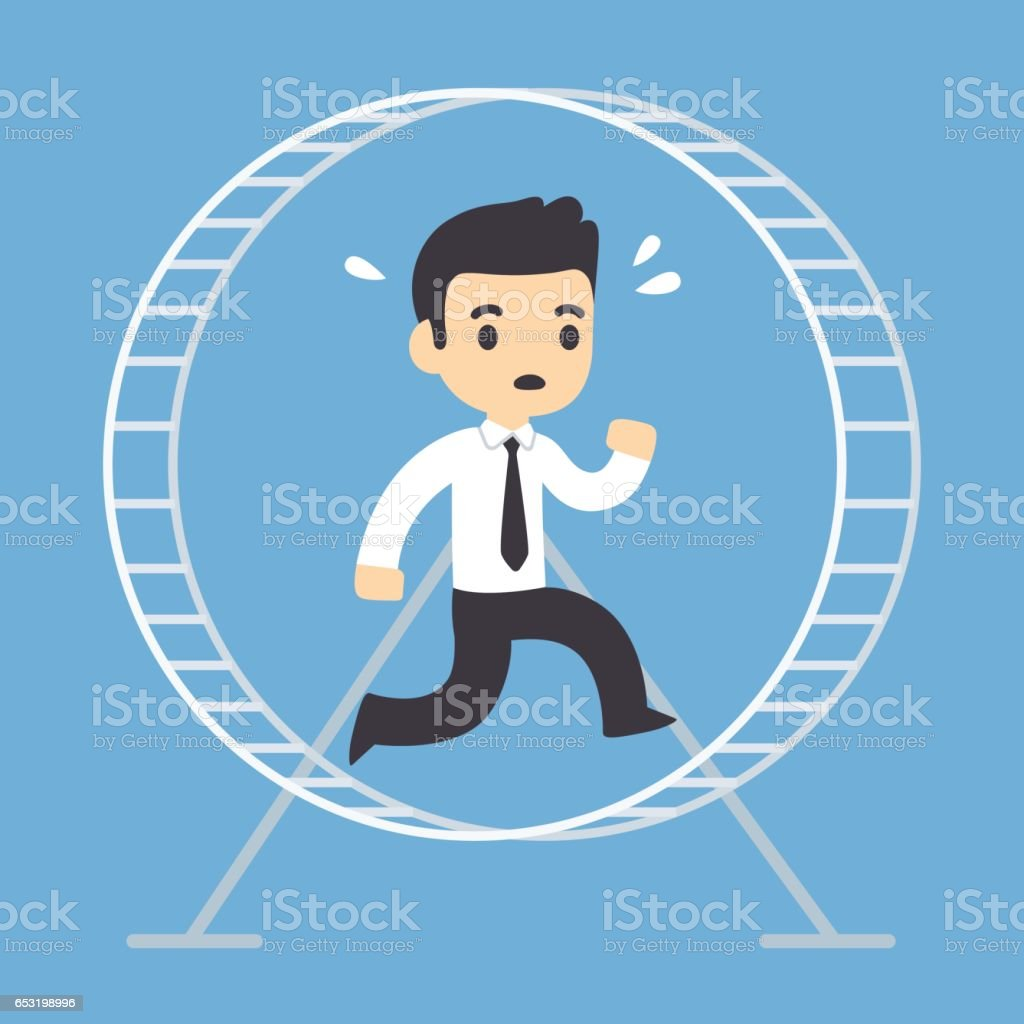 Businessman running in hamster wheel vector art illustration