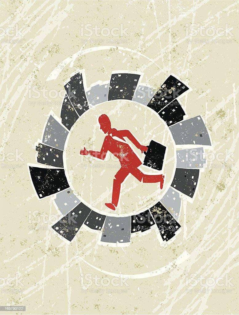 Businessman Running in the City Treadmill royalty-free stock vector art