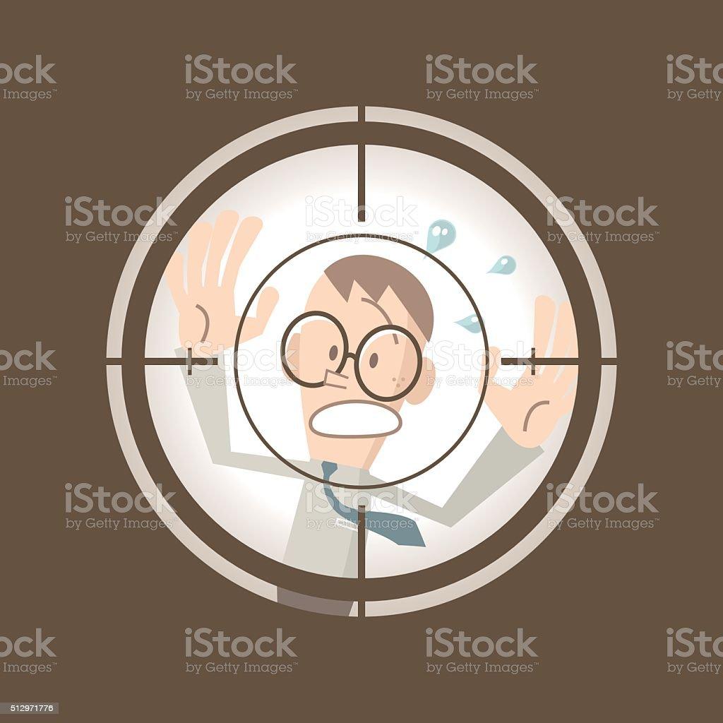 Businessman running in the crosshairs center rifle (gun) sight (escape) vector art illustration