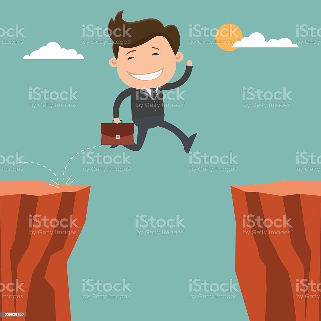Businessman running jump through the gap on cliff vector art illustration