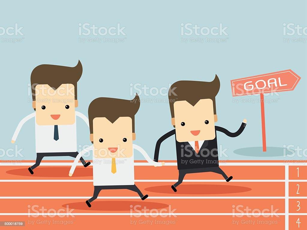 businessman running on track vector art illustration