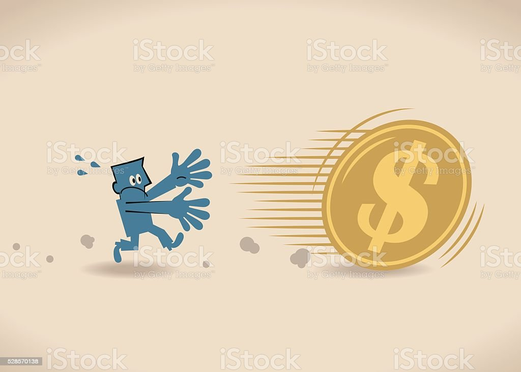 Businessman running to catch big money (US Dollar sign coin) vector art illustration
