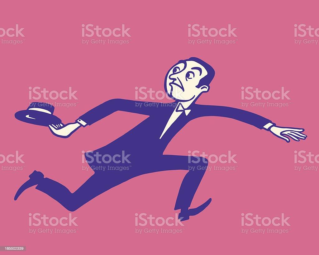 Businessman Running vector art illustration