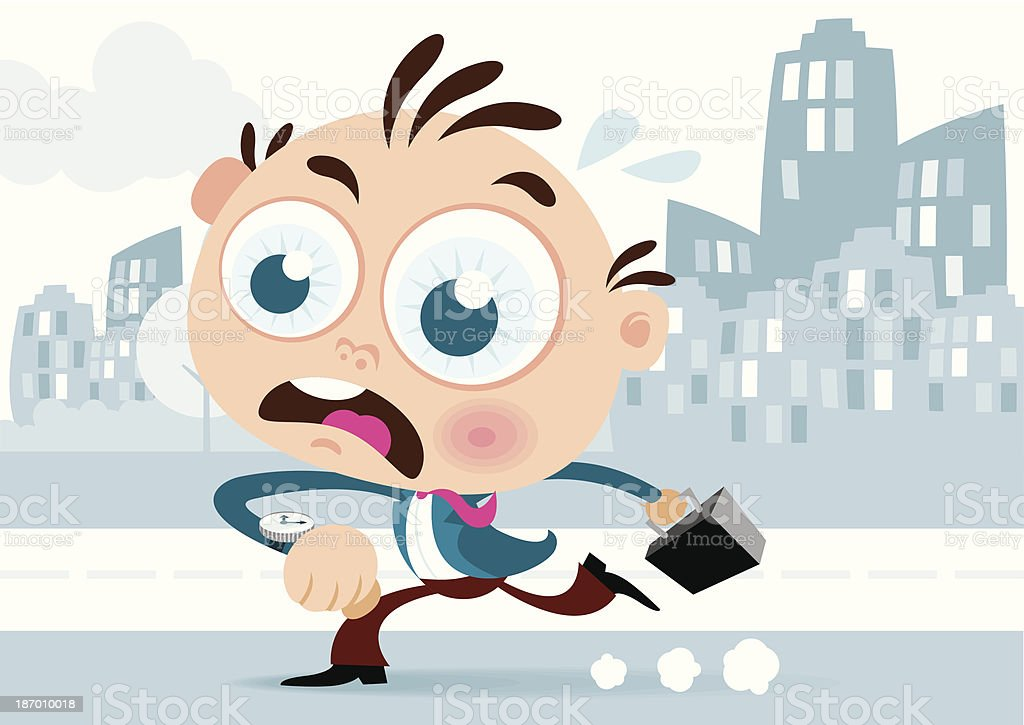 Businessman running with briefcase royalty-free stock vector art