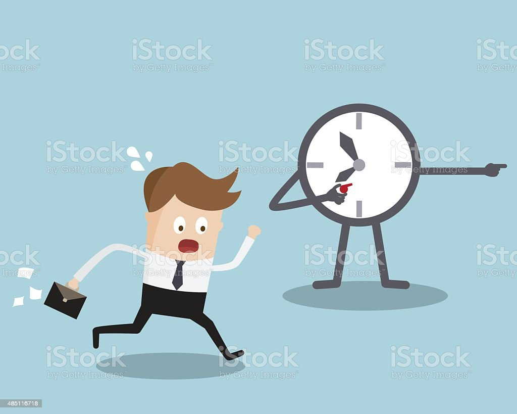 Businessman Running with Clock Trainer vector art illustration