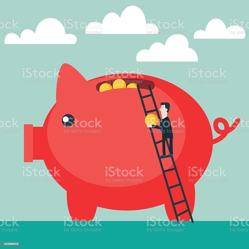 Businessman saves money in Piggy bank. Businessman investing money concept vector art illustration