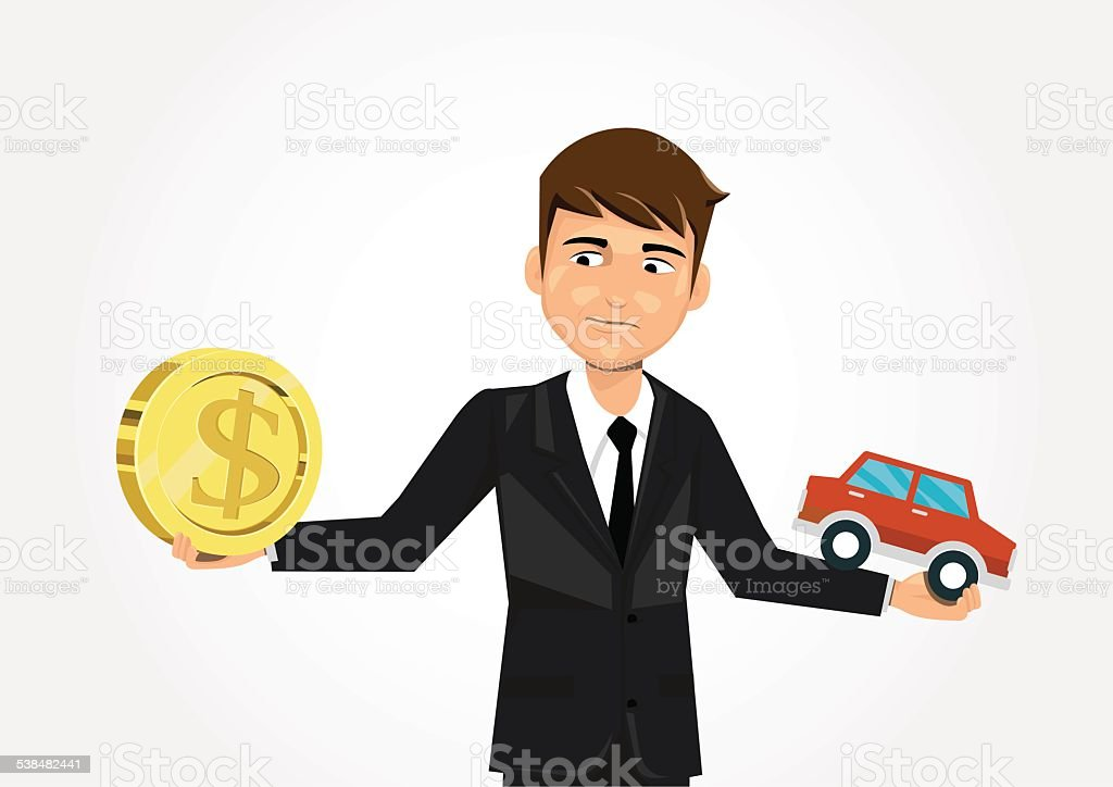 businessman scales with dollar and car. vector art illustration
