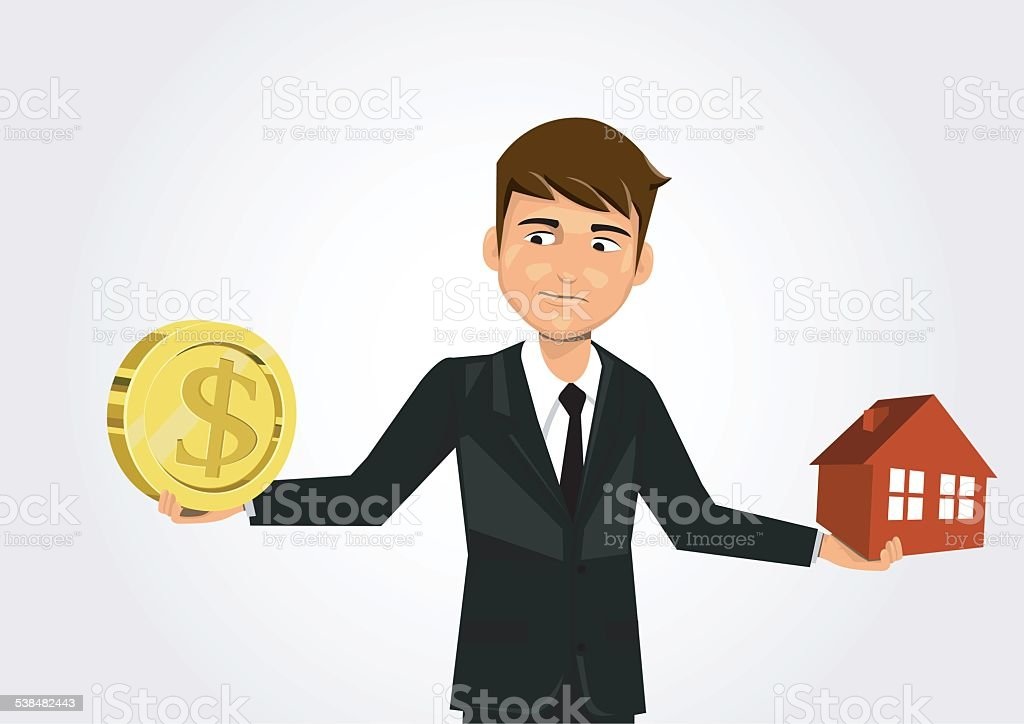 businessman scales with dollar and home. vector art illustration
