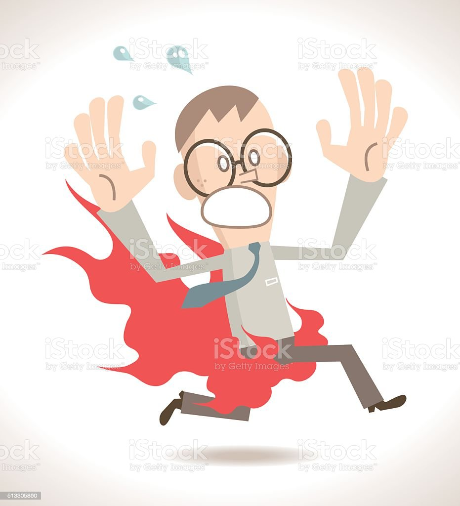 Businessman screaming and running with pants on fire vector art illustration