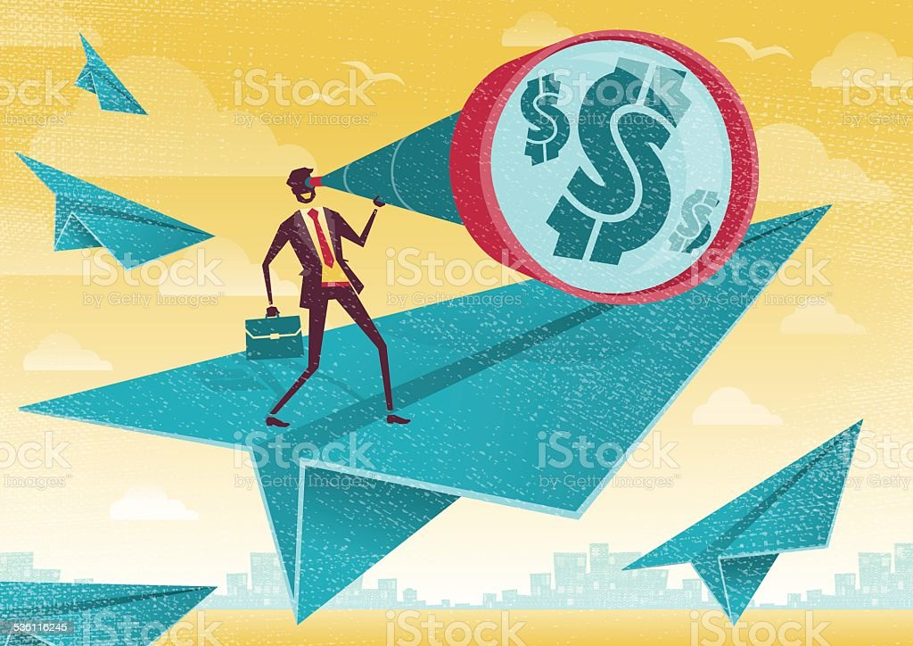 Businessman searches for Dollars in the Business Skies. vector art illustration