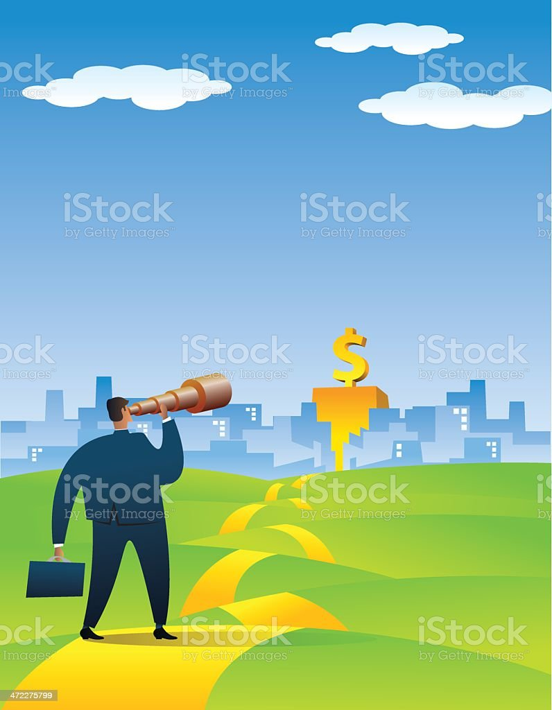 Businessman Searching a New Opportunity vector art illustration