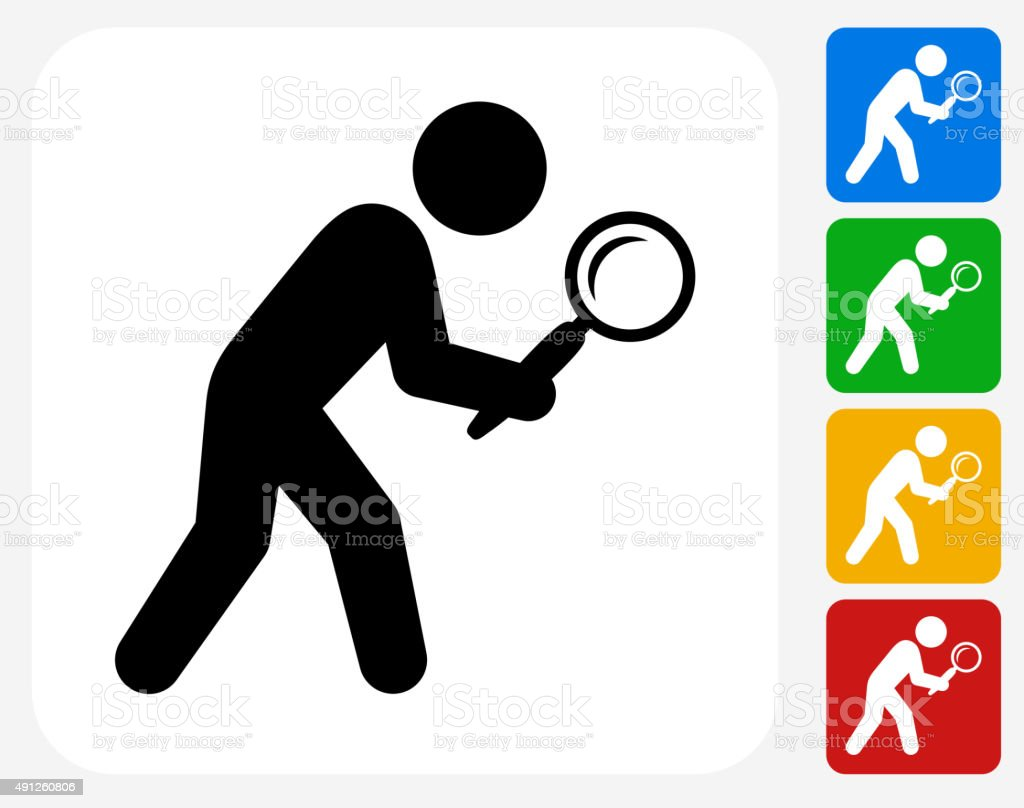 Businessman Searching Icon Flat Graphic Design vector art illustration