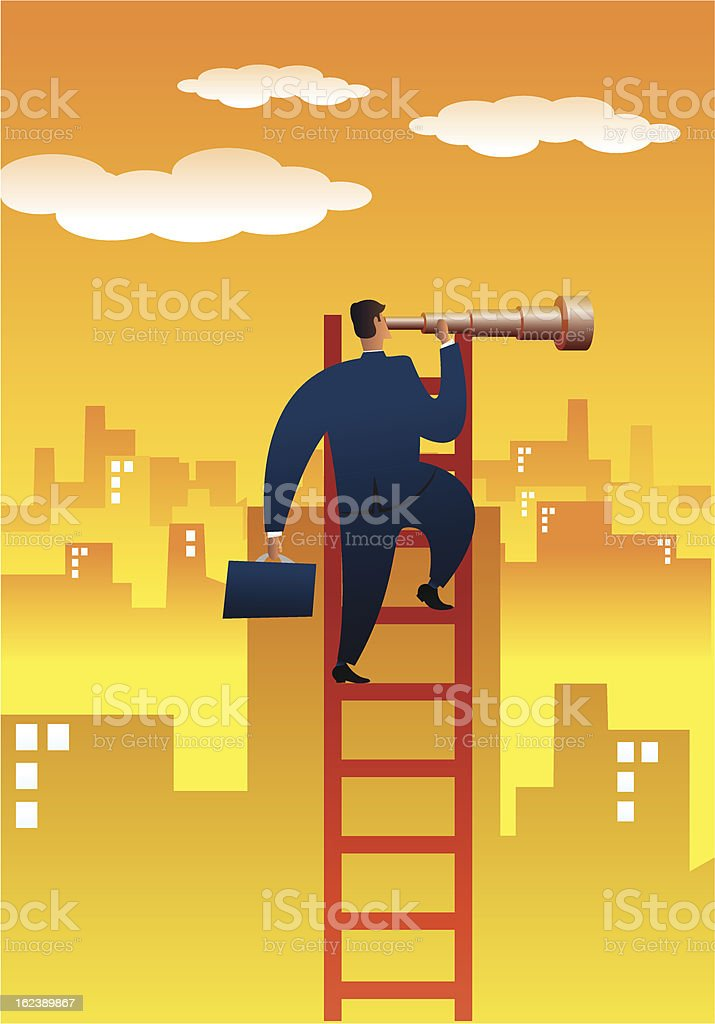 Businessman searching opportunities vector art illustration