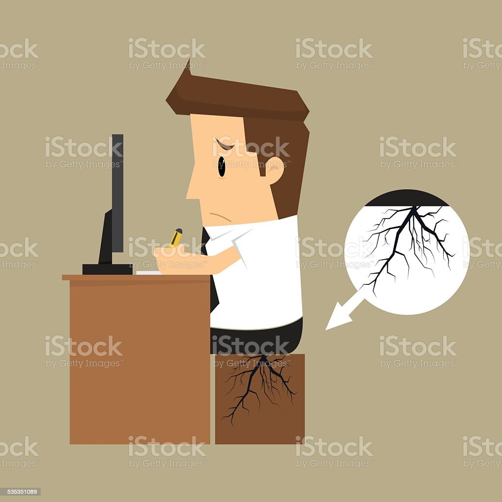 businessman seat bottom germinate root vector art illustration