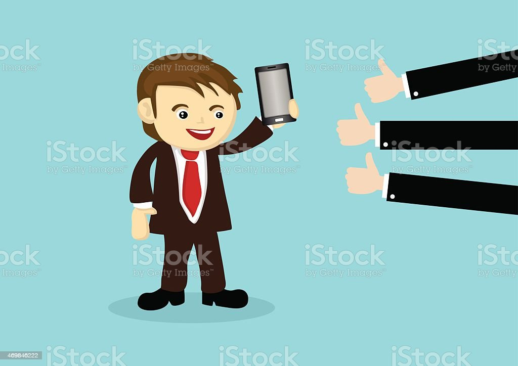 Businessman Selling Mobile Phone to Positive Reviews vector art illustration