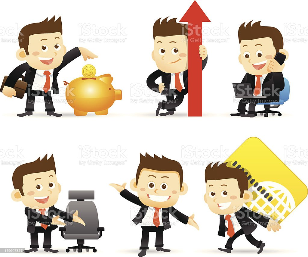 Businessman set royalty-free stock vector art
