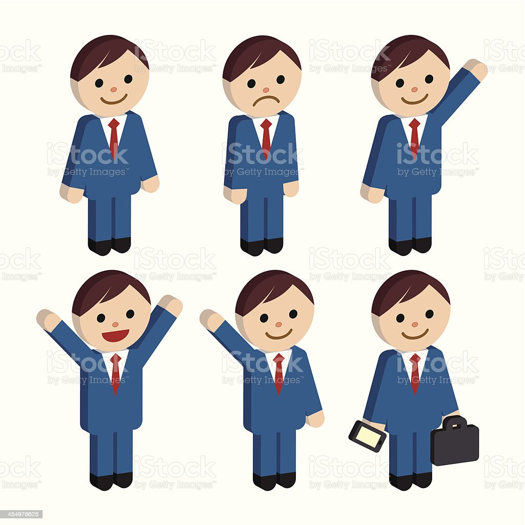 3D Businessman set royalty-free stock vector art