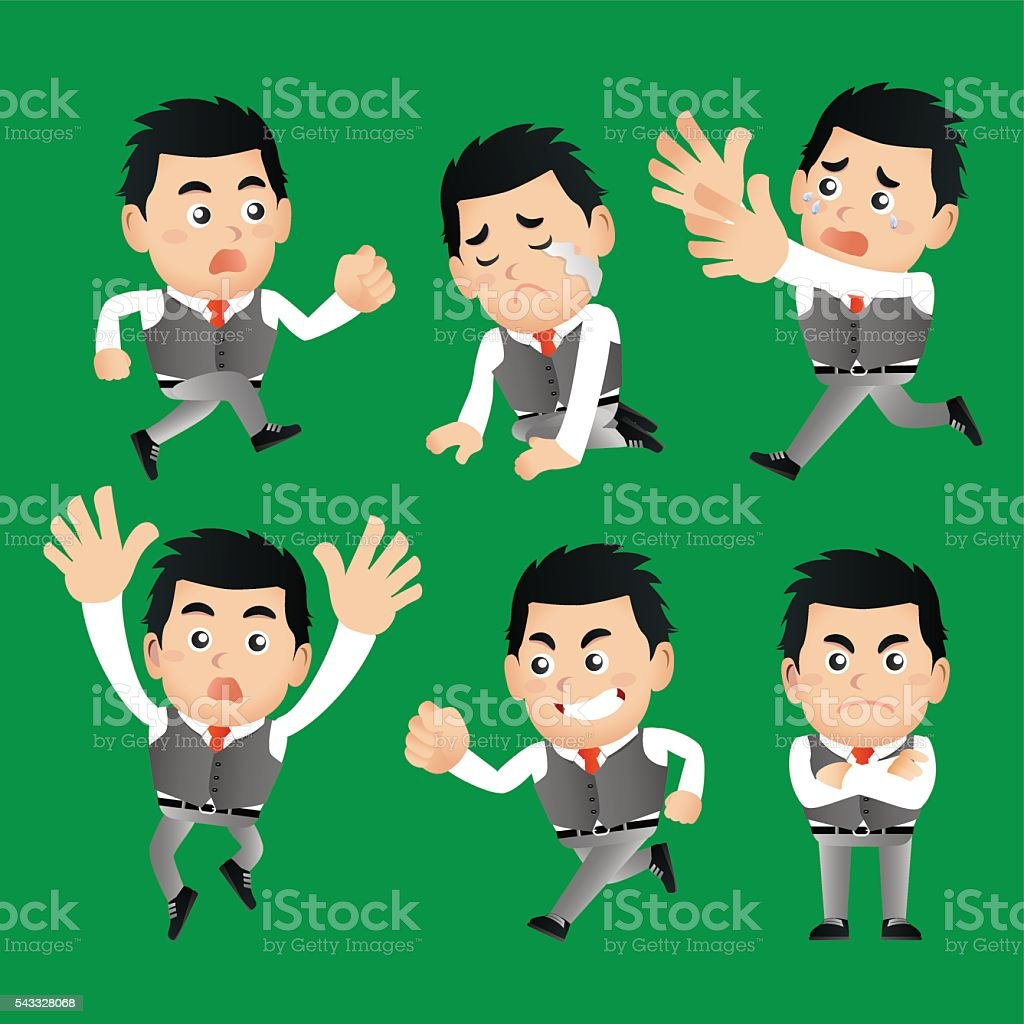 Businessman set vector art illustration