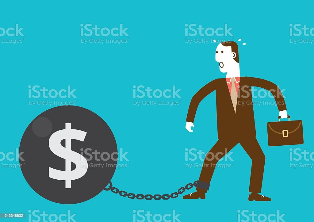 Businessman Shackled by Iron Ball with Dollar Sign vector art illustration