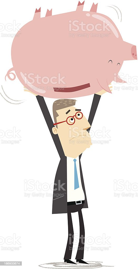Businessman shaking an empty piggy bank royalty-free stock vector art