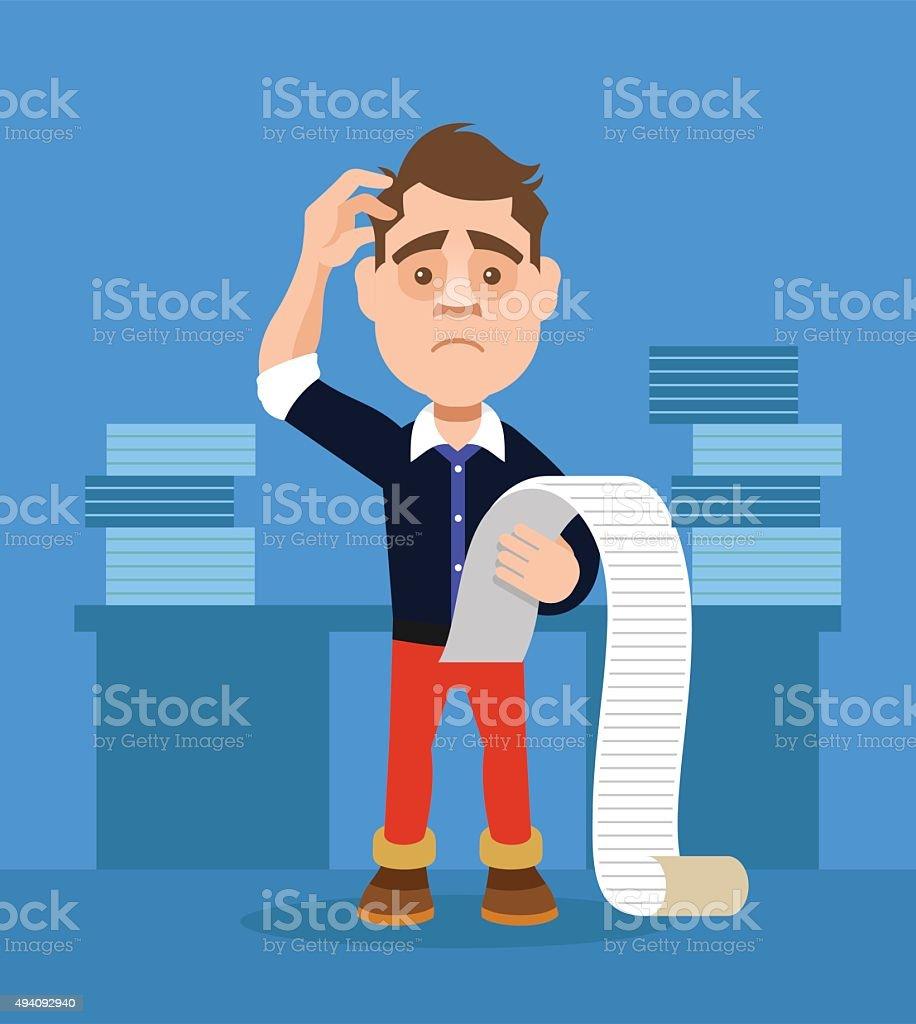 Businessman shocked. Vector flat illustration vector art illustration