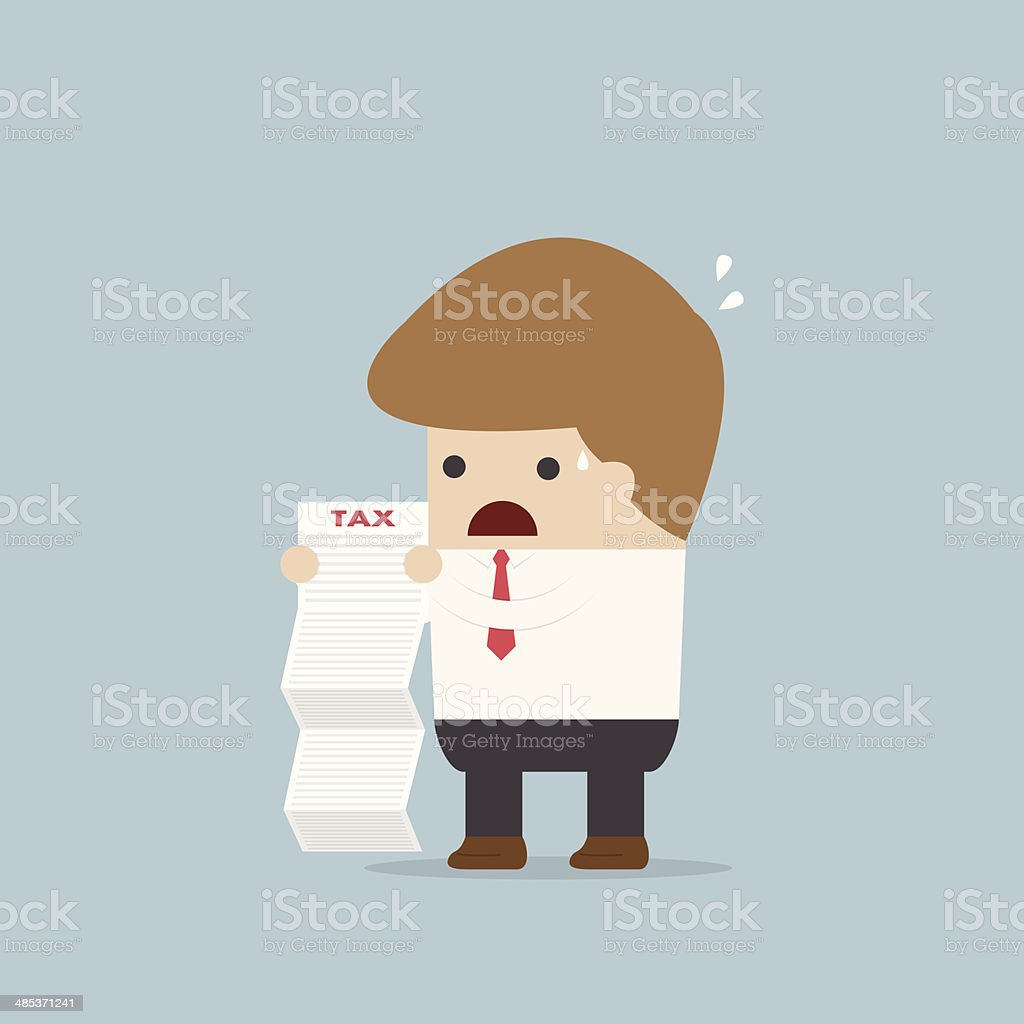 Businessman shocked when he reading the documents vector art illustration