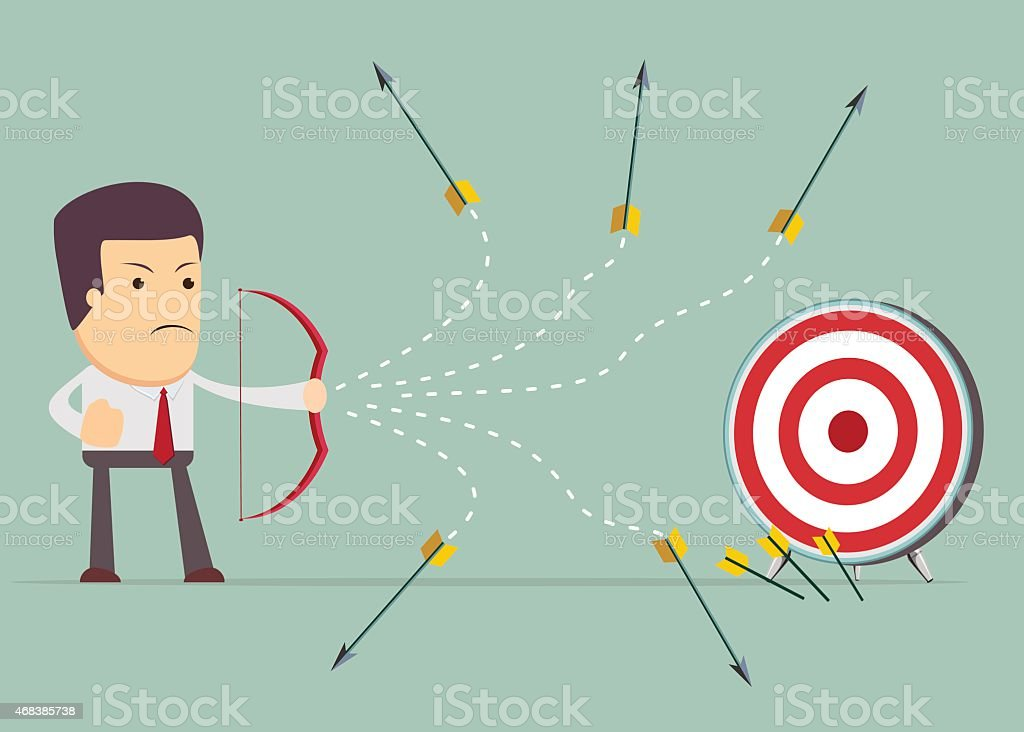 Businessman shooting arrow vector art illustration