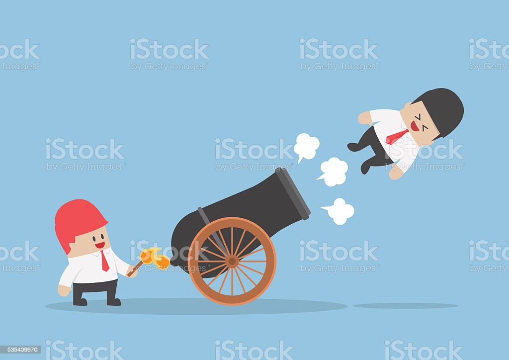Businessman shot out from cannon vector art illustration