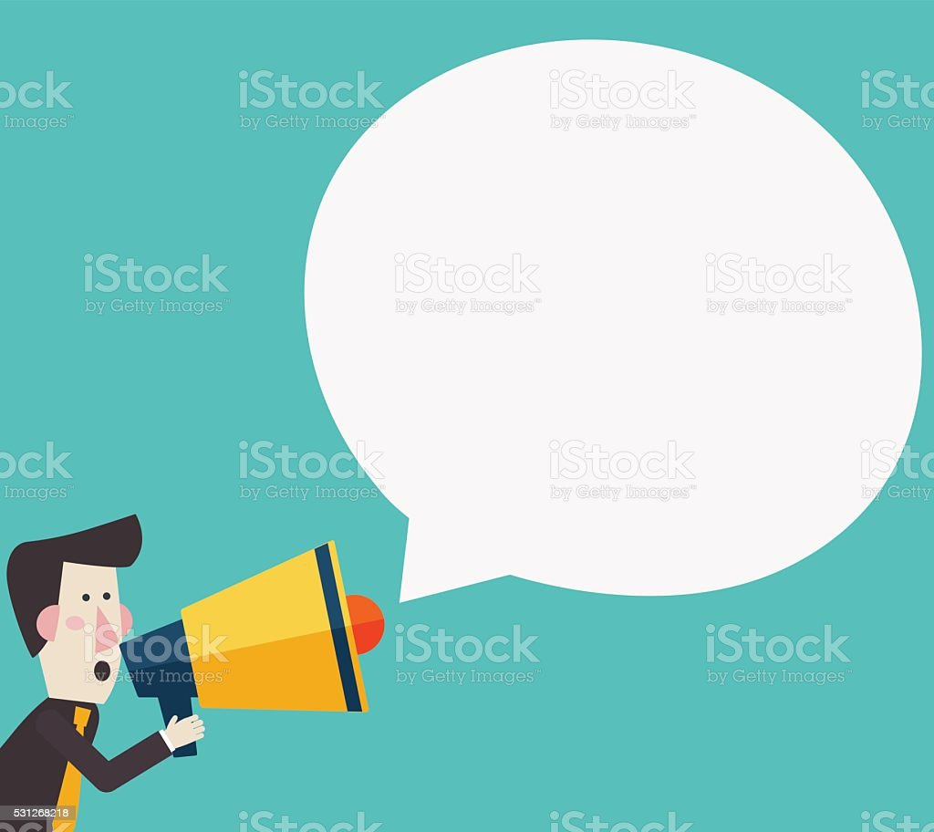 Businessman shouting in megaphone. Announcing promotion and banners concept vector art illustration
