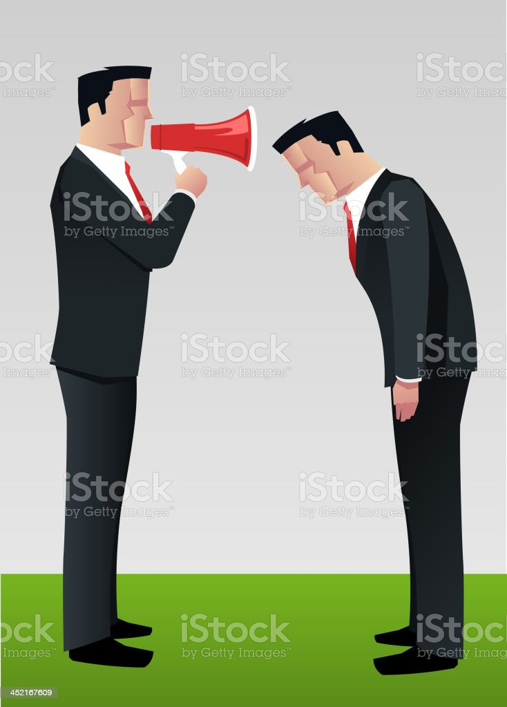 Businessman shouting to employee megaphone royalty-free stock vector art
