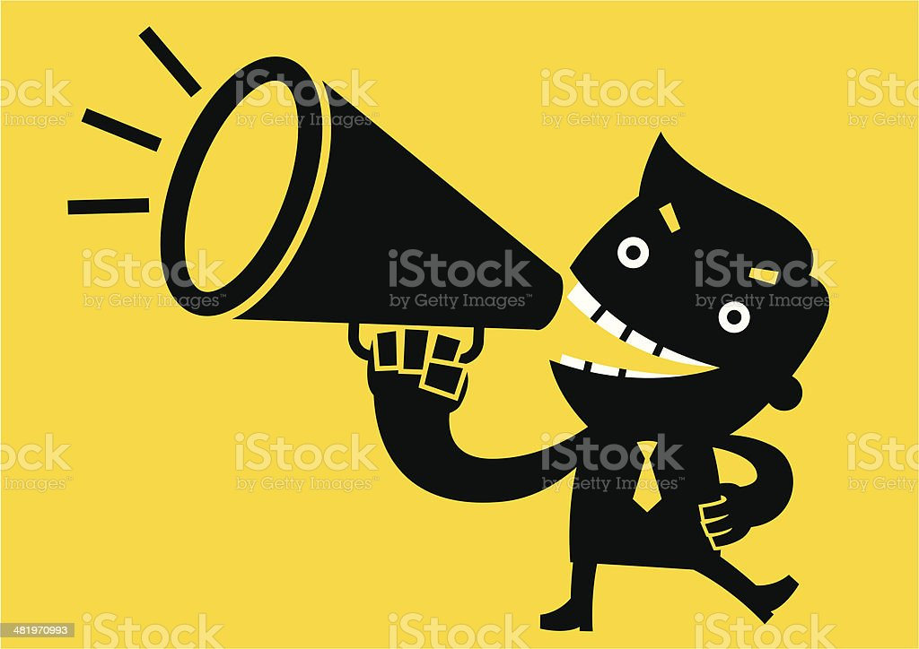 Businessman shouting with Megaphone | Yellow Business Concept vector art illustration