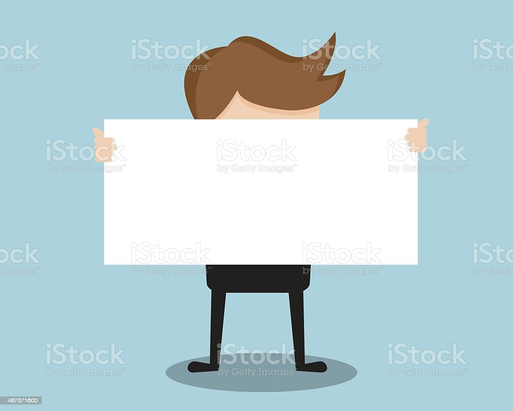 Businessman Show Blank Paper In Front vector art illustration