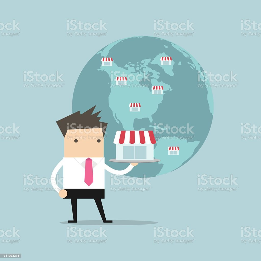 Businessman show his business on global vector art illustration