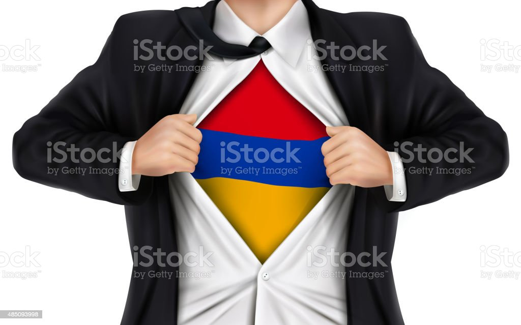 businessman showing Armenia flag underneath his shirt vector art illustration