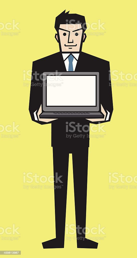 Businessman Showing Blank Laptop royalty-free stock vector art