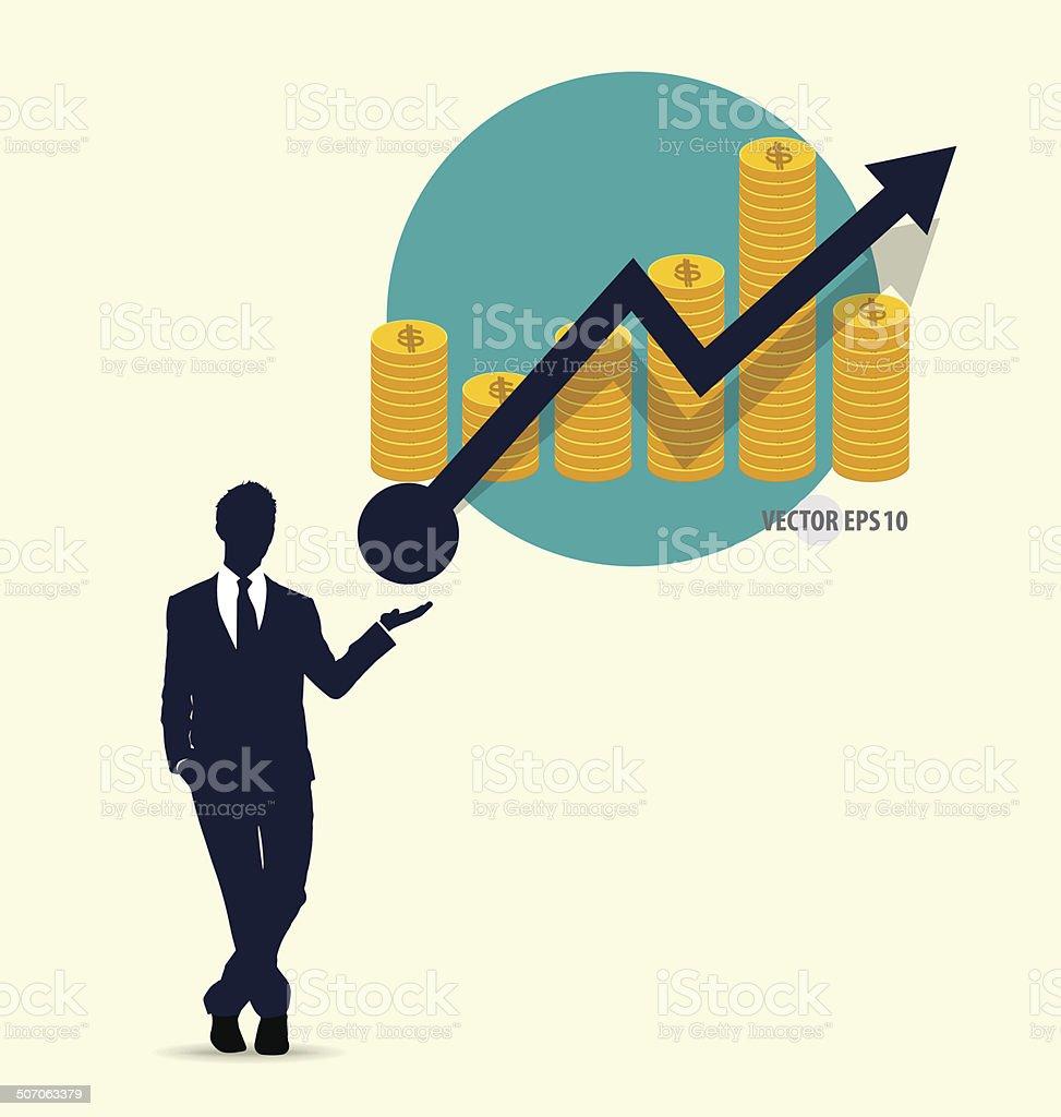 Businessman showing graph. Vector illustration. vector art illustration