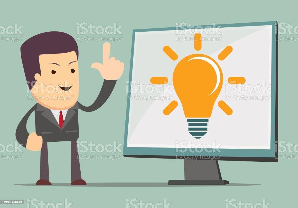 Businessman showing he has new idea vector art illustration