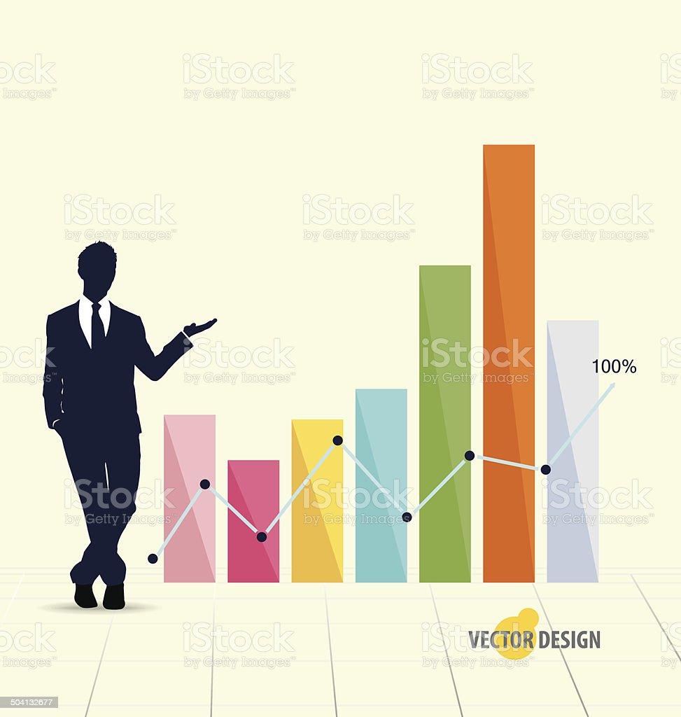 Businessman showing modern design graph. Vector illustration. royalty-free stock vector art