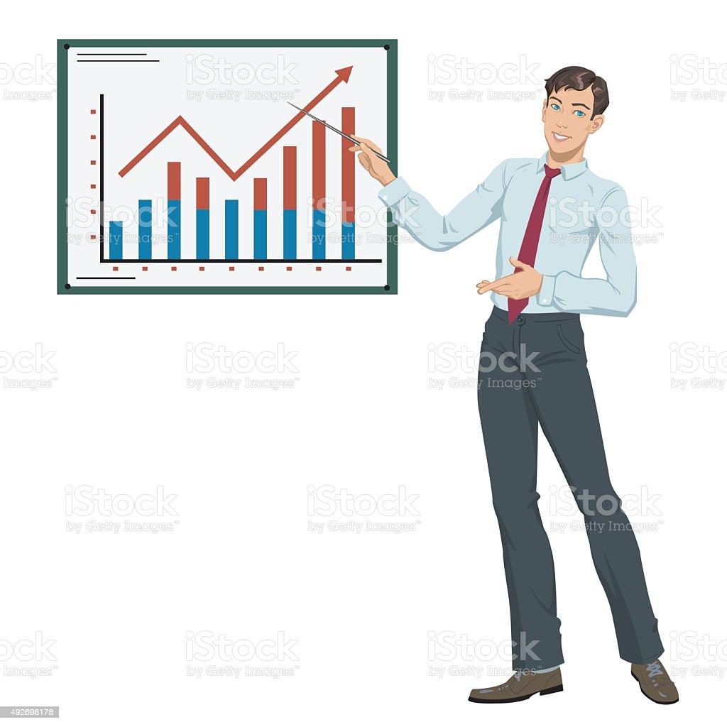 Businessman showing presentation royalty-free stock vector art