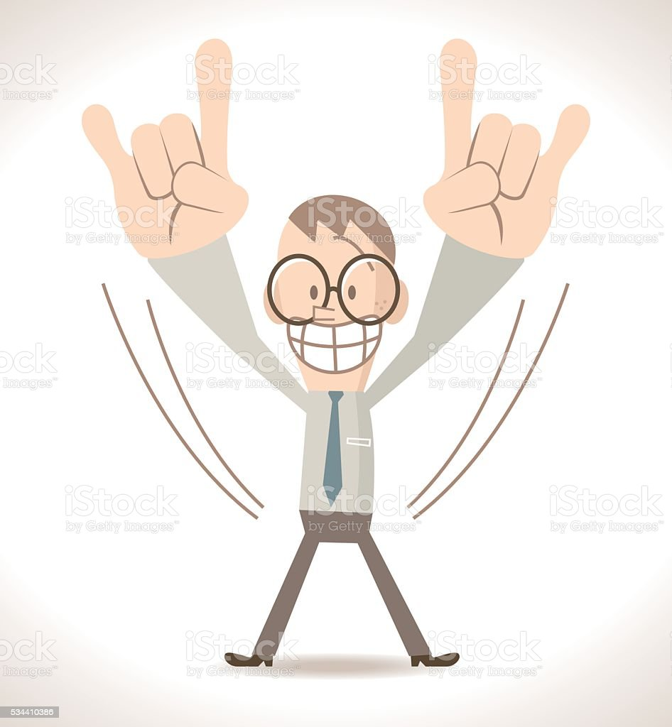 Businessman (skinny nerd) showing rock hand sign (heavy metal, rock-n-roll) vector art illustration