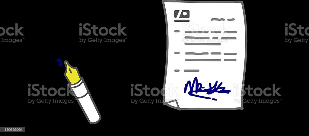 businessman signing a contract royalty-free stock vector art