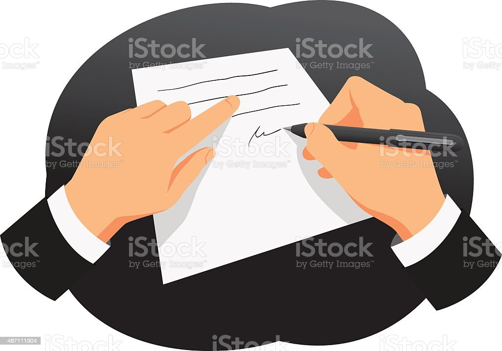 Businessman signing a contract vector art illustration