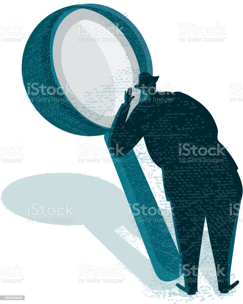 Businessman silhouette and magnifying glass royalty-free stock vector art